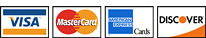 Visa, MasterCard, American Express and Discover Cards Accepted